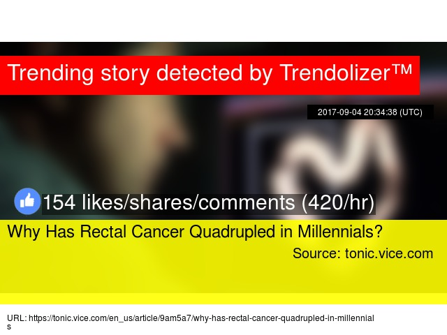 rectal cancer quadrupled in millennials