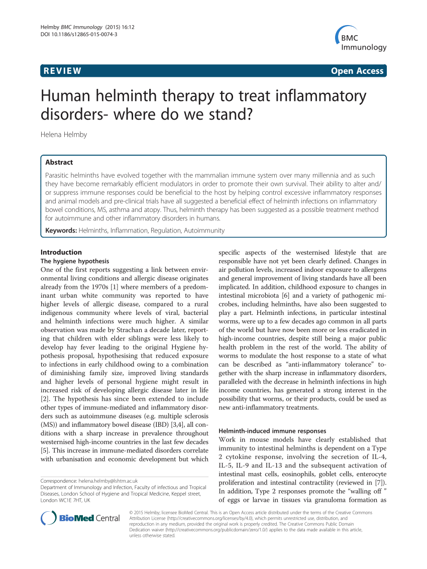 helminth therapy allergies)
