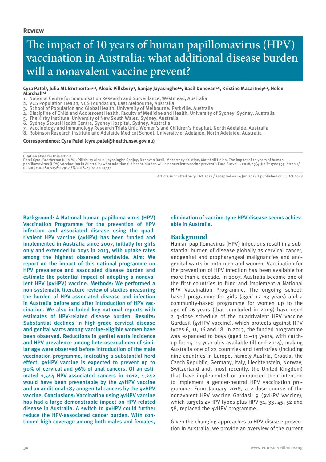 Human papillomavirus and hpv vaccines a review,