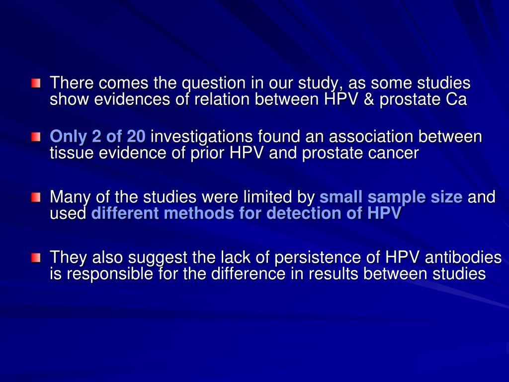 Link between hpv and prostate cancer
