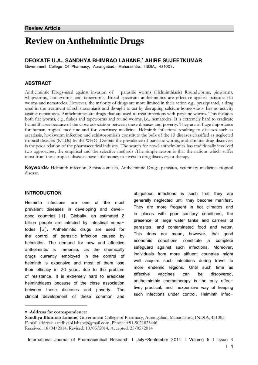 anthelmintic review)