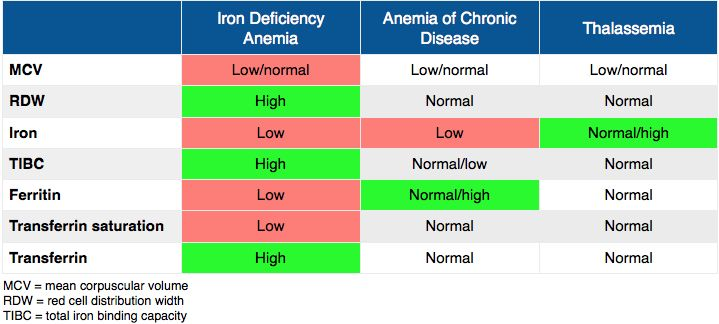 anemia with normal iron levels)