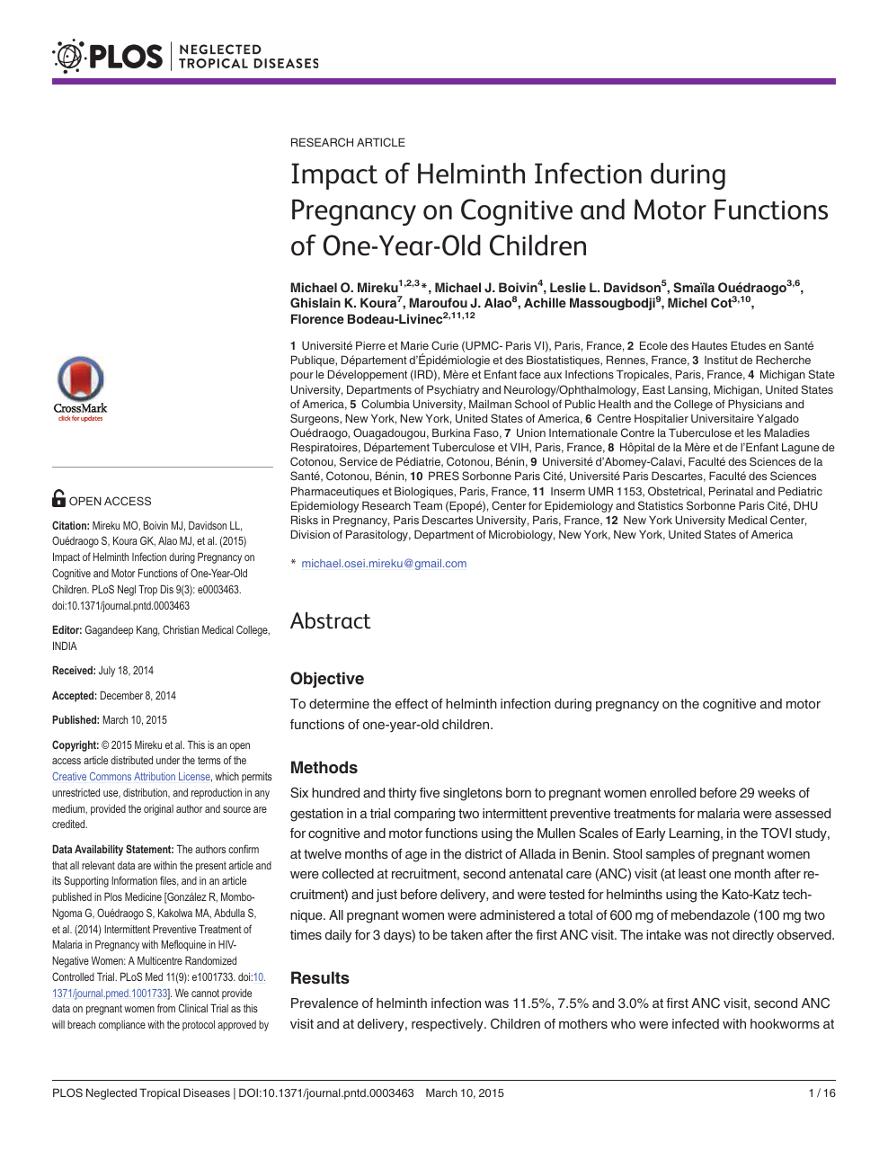 helminth infection during pregnancy